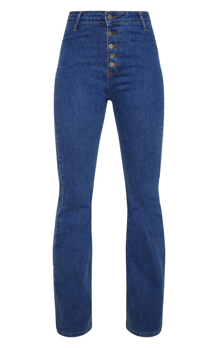 Mid Wash High Waisted Stretch Flare Jean 3