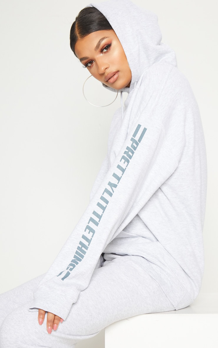 PRETTYLITTLETHING Grey Logo Stripe Oversized Hoodie 1