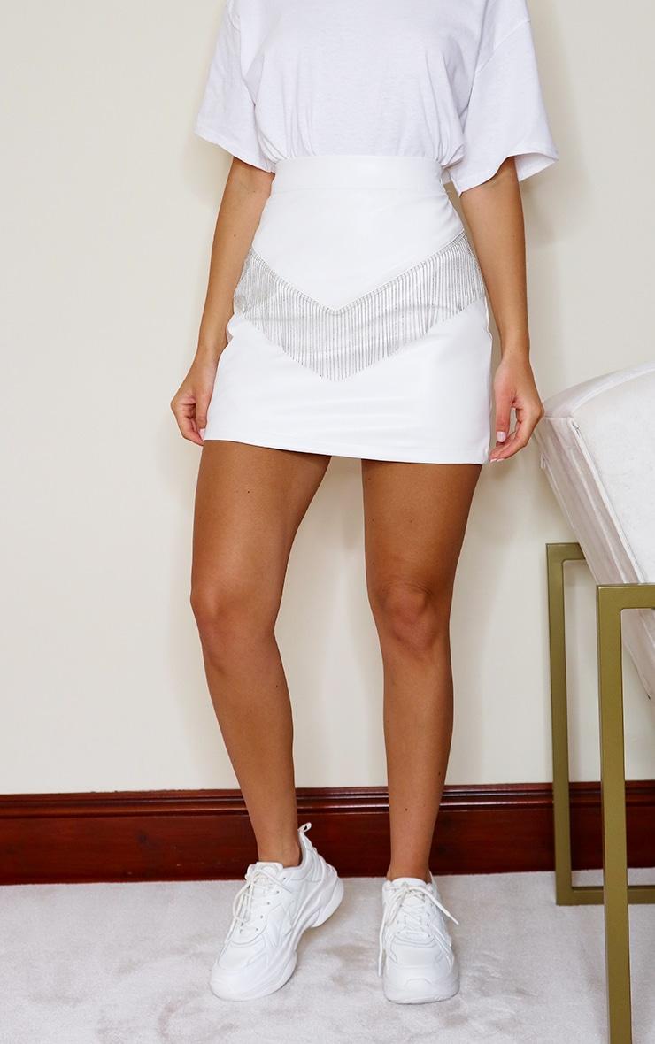 White Faux Leather Beaded Trim Detail Mini Skirt 2