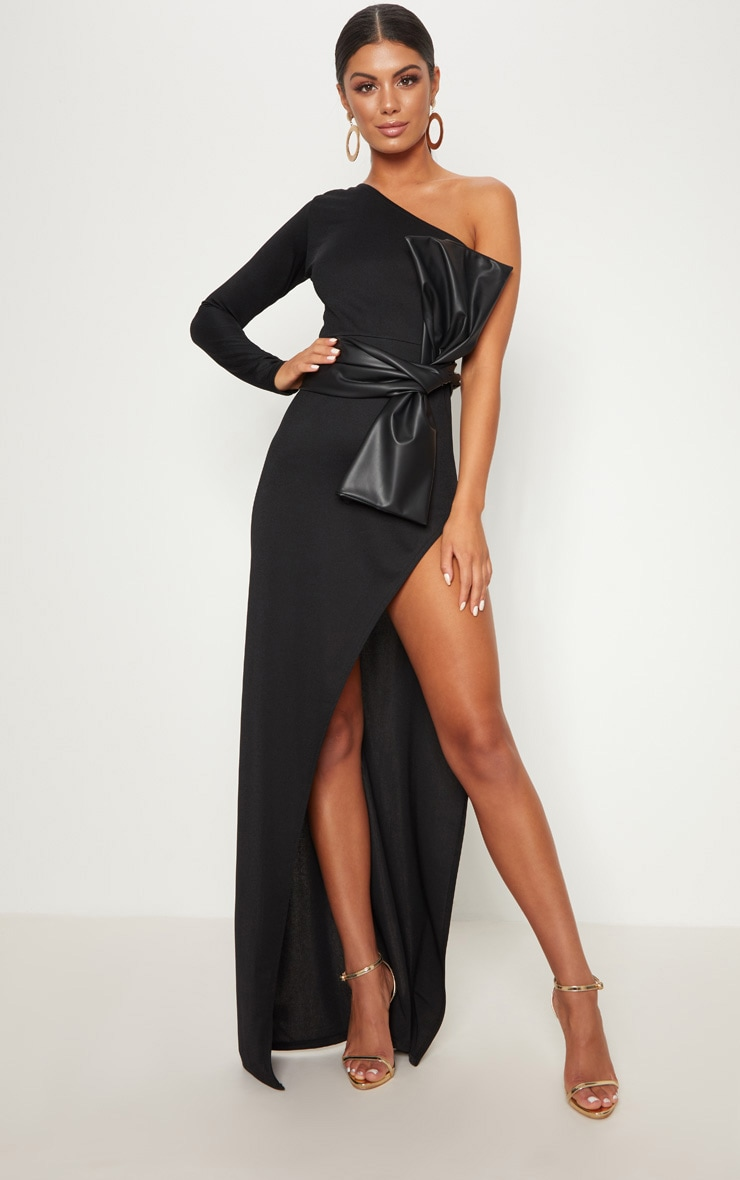 Black One Shoulder PU Belt Maxi Dress 1