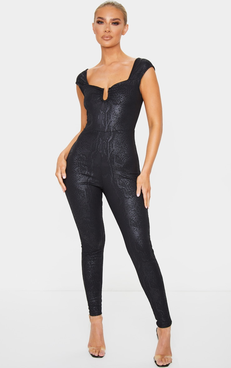 Black Textured Snake V Bar Jumpsuit 1