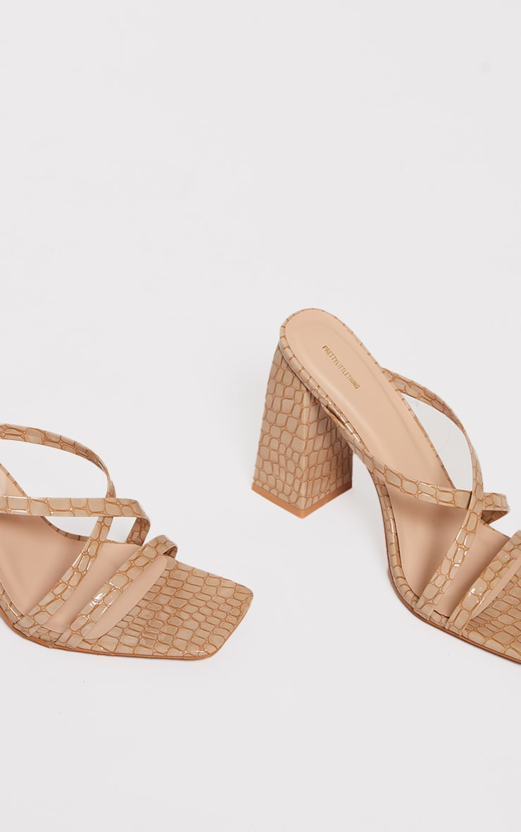 Nude Patent Pu Snake Flare High Block Heel Strappy Mules 4
