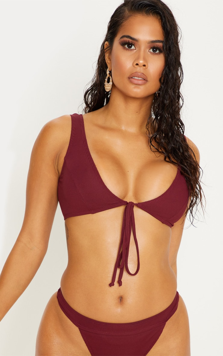 Burgundy Ribbed Tie Front Plunge Bikini Top 1