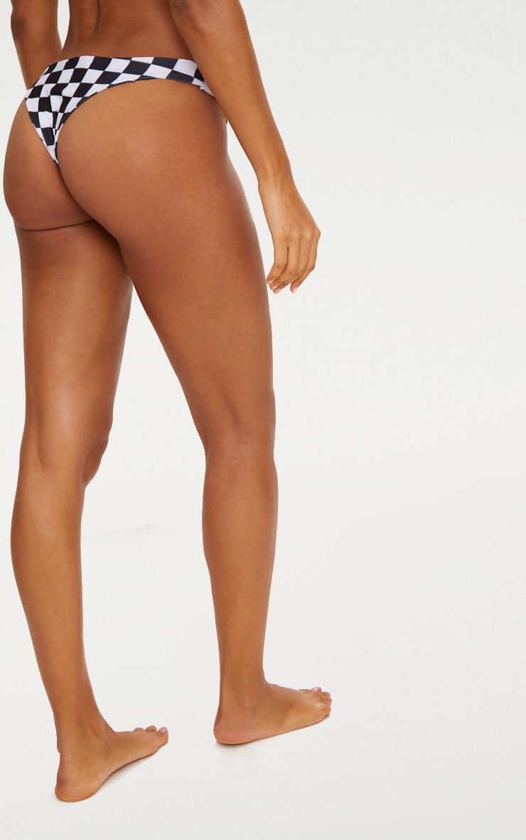 Black Checker Board Brazilian Thong Bikini Bottom 4
