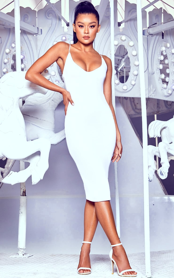 White Plunge Double Strap Midi Dress 1