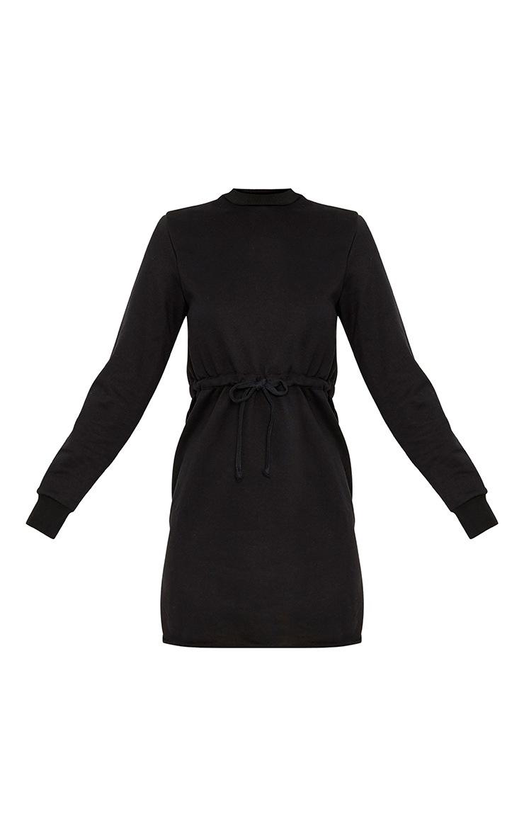 Suzanne robe sweat noire nouée à la taille 3