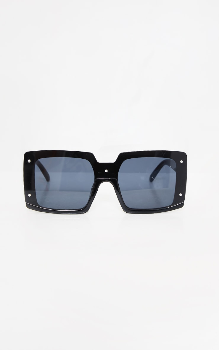 Black Lens Square Frame Oversized Sunglasses 2
