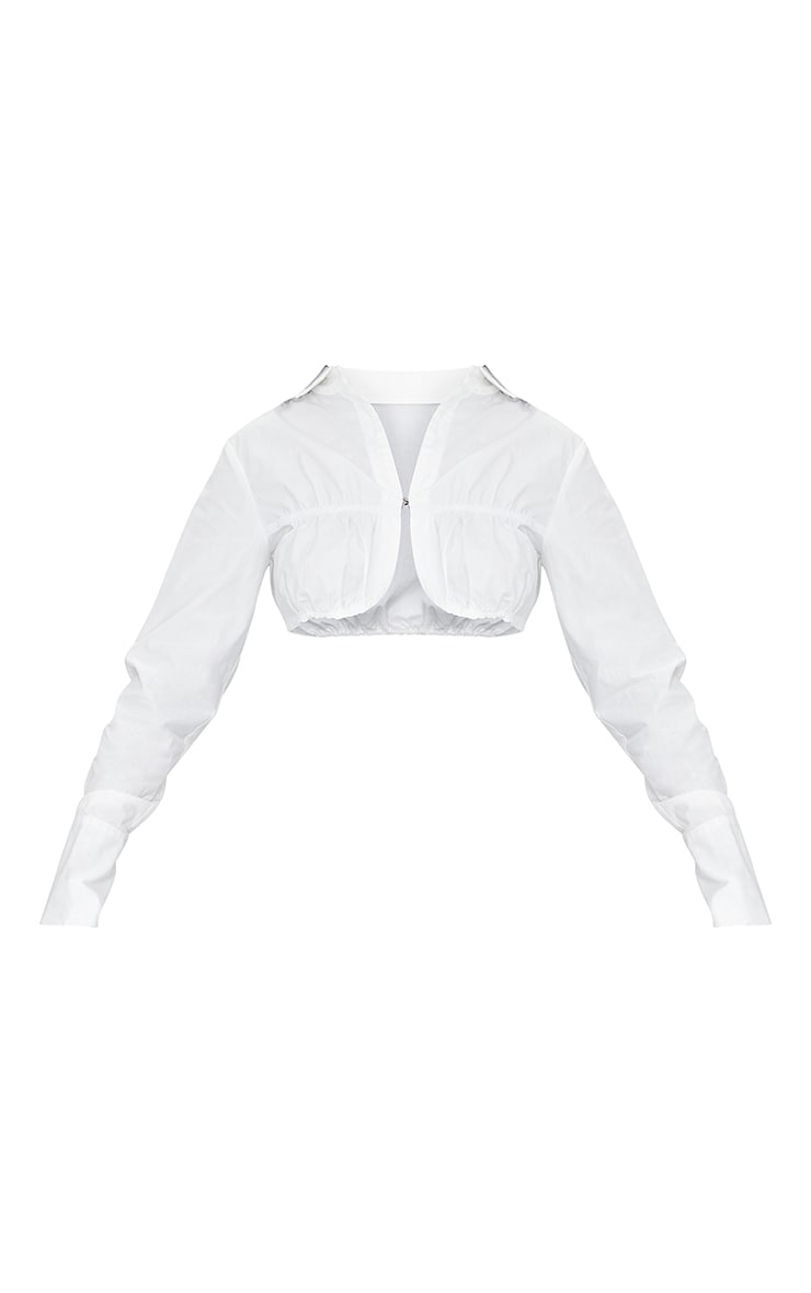 White Woven Ruched Detail Cropped Shirt 5