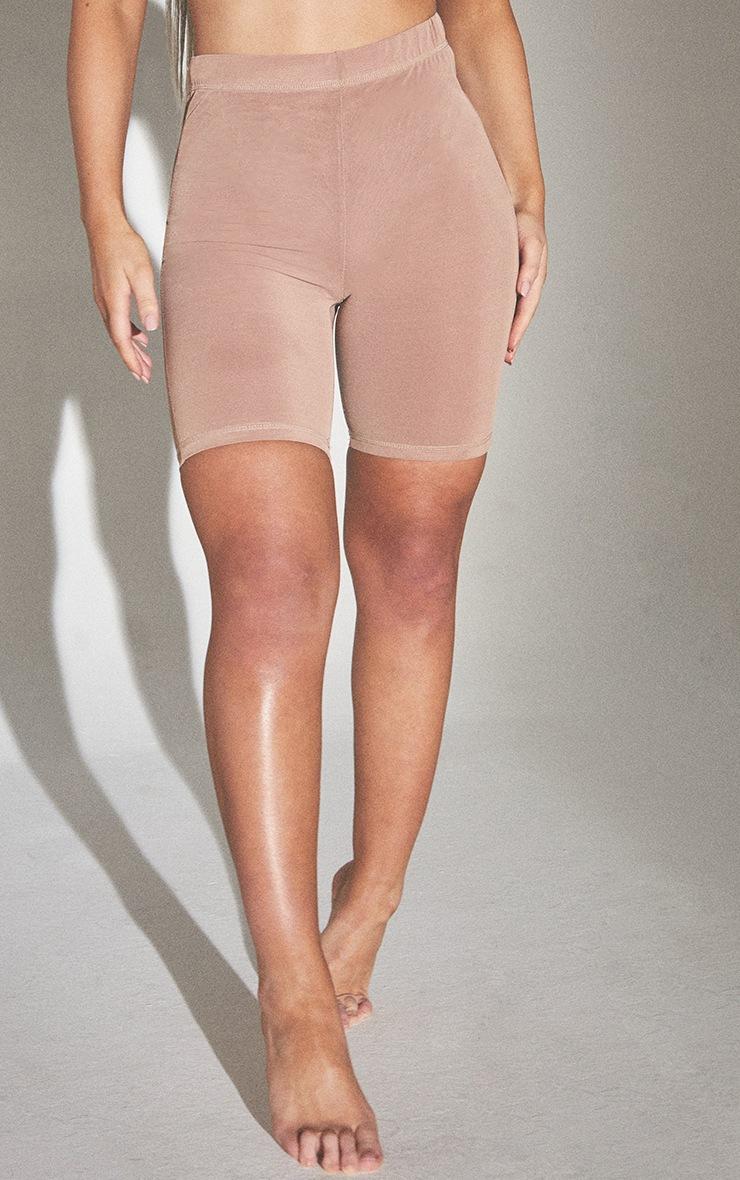 PLT Seconde Peau - Short de lingerie en mesh argile à taille haute 2