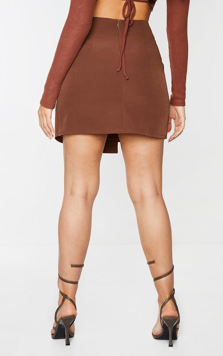 Chocolate Woven Wrap Mini Skirt 3