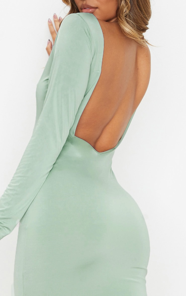 Sage Green Slinky Low Back Long Sleeve Midi Dress 5