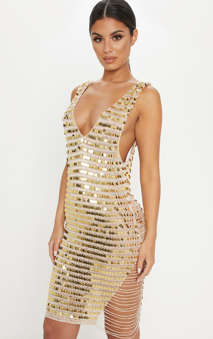 Gold Sequin V Neck Knitted Dress 1
