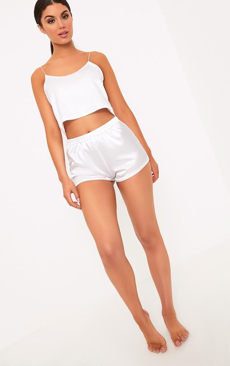 Issie White Satin Pyjama Shorts Set 4