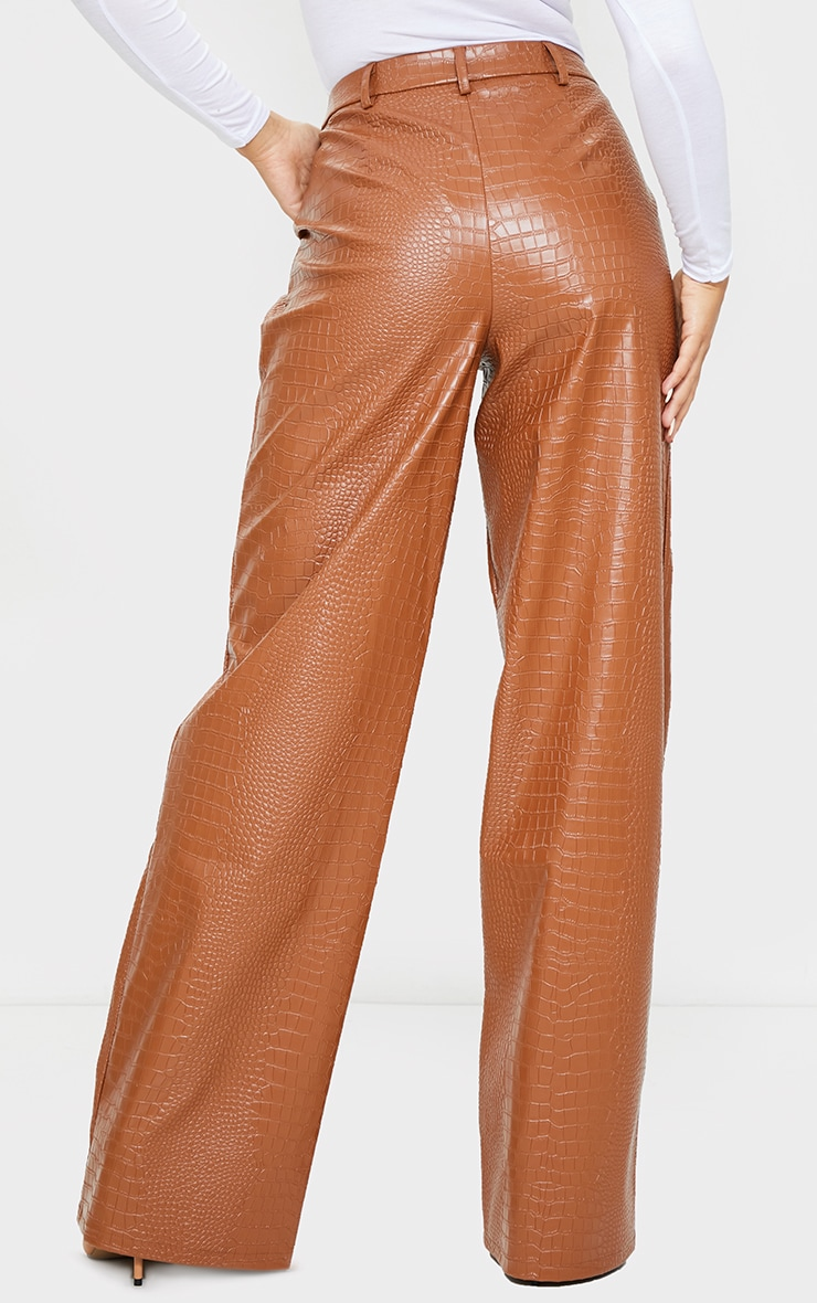 Chocolate Croc Faux Leather Wide Leg Trousers 3