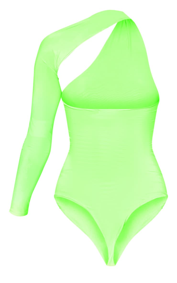 Neon Lime One Shoulder Asymmetric Bodysuit 4