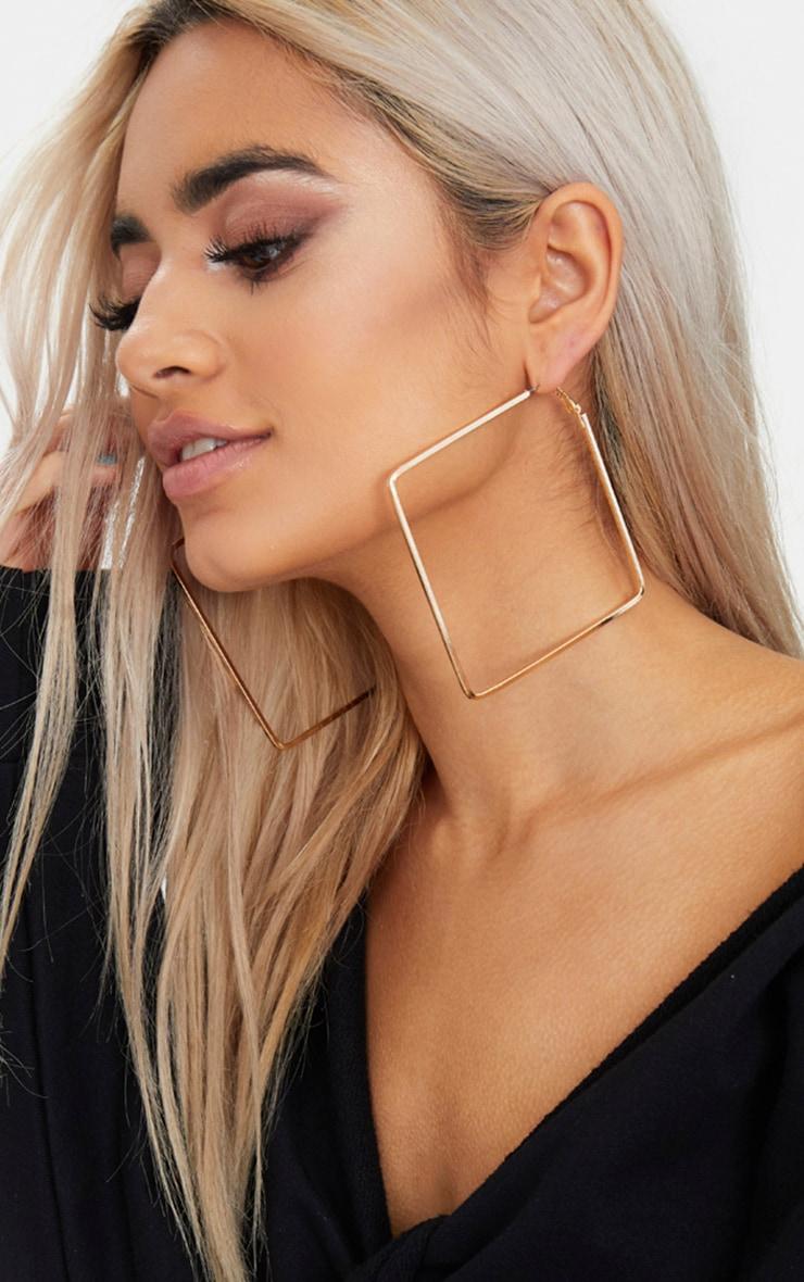 Gold Large Square Hoop Earrings 1
