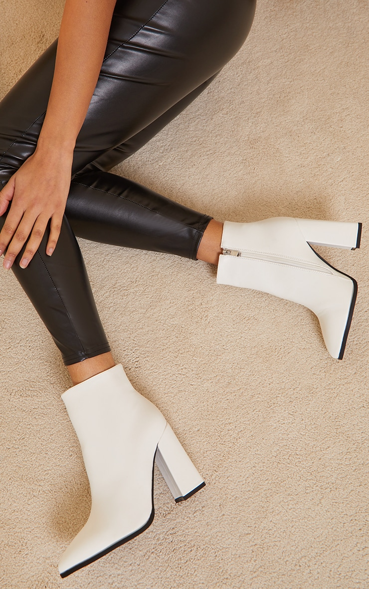 White Wide Fit Point Block Heel Ankle Boots 2
