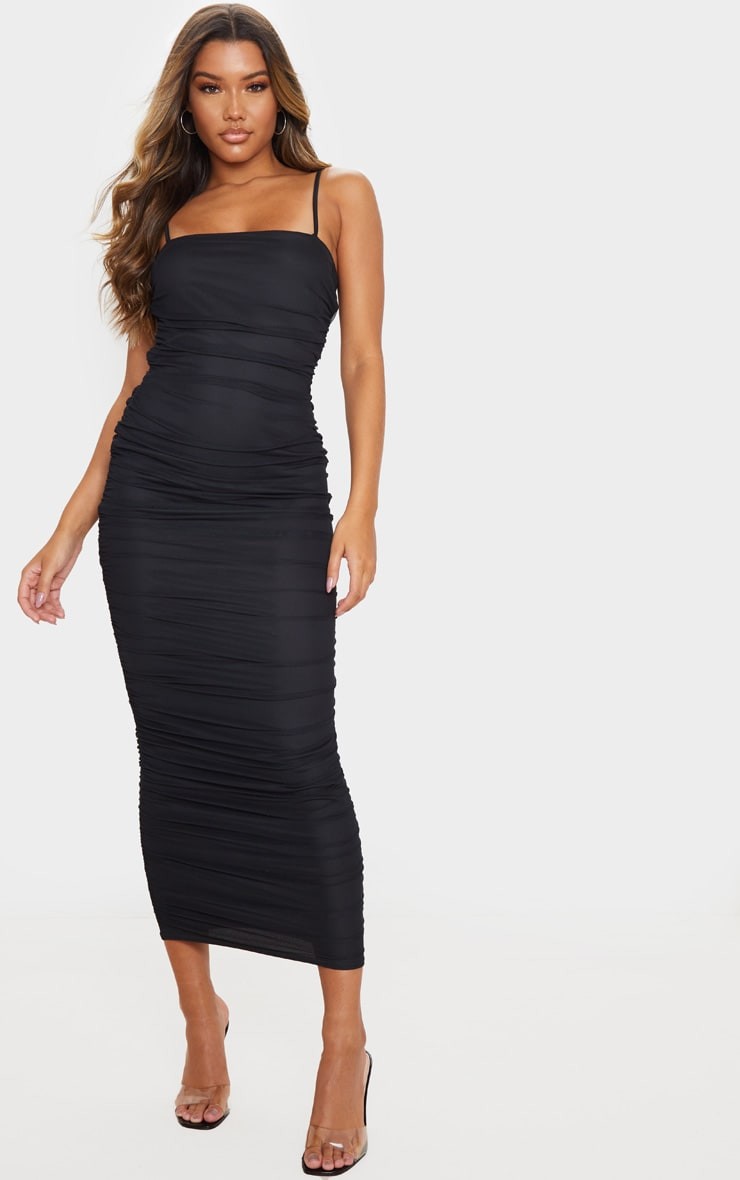 Black Strappy Mesh Ruched Midaxi Dress 1