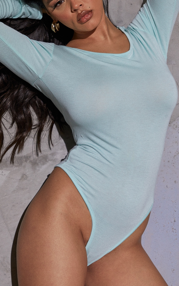 Basic Mint Crew Neck Long Sleeve Bodysuit 4