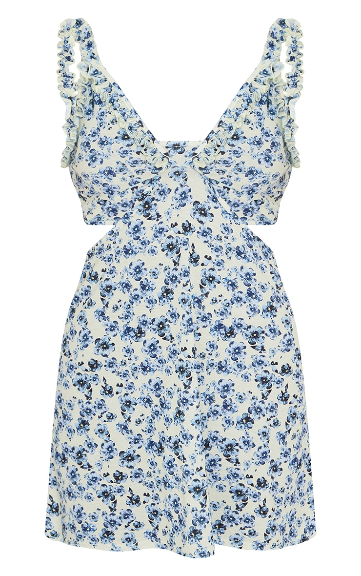 Cream Floral Print Frill Detail Side Cut Out Shift Dress 5