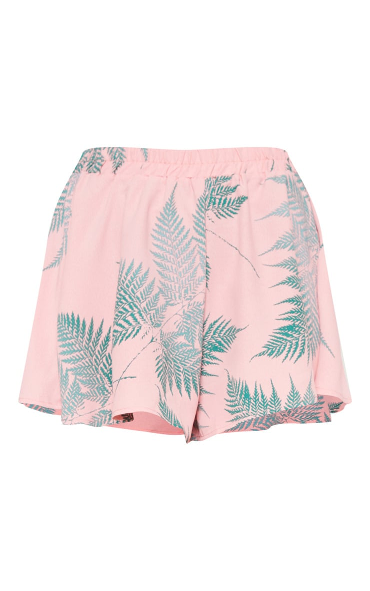 Pink Leaf Print Floaty Shorts 3