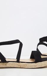 Black Lace Up Espadrille Flatform Sandal 3