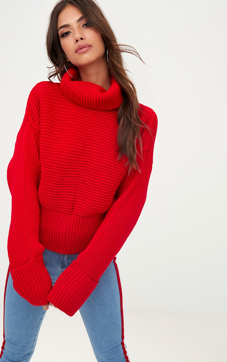 Red Extreme Sleeve Roll Neck Jumper 1