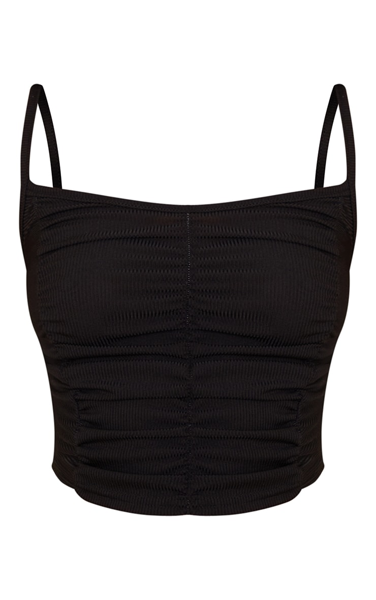Black Rib Extreme Ruched Crop Top 5