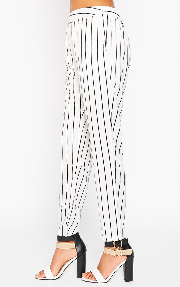 Ariela Cream Stripe Trousers 3