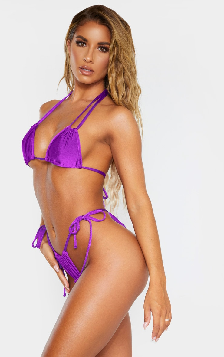 Purple Mini Ruched Tie Side Bikini Bottom 2