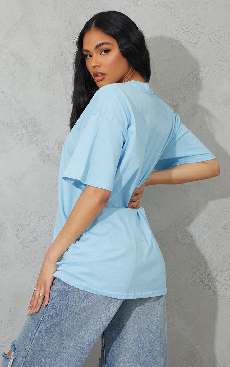 Light Blue Los Angeles Small Chest Print T Shirt 2