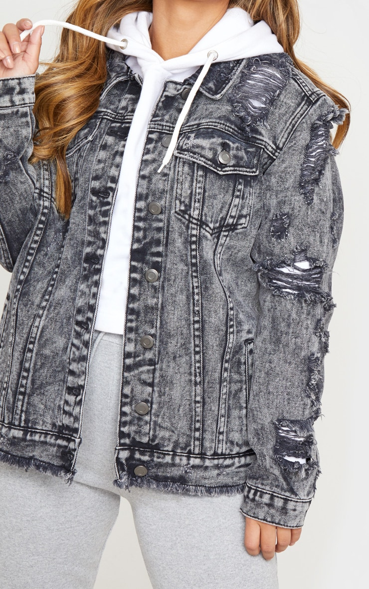 Petite Acid Wash Distressed Denim Jacket 5