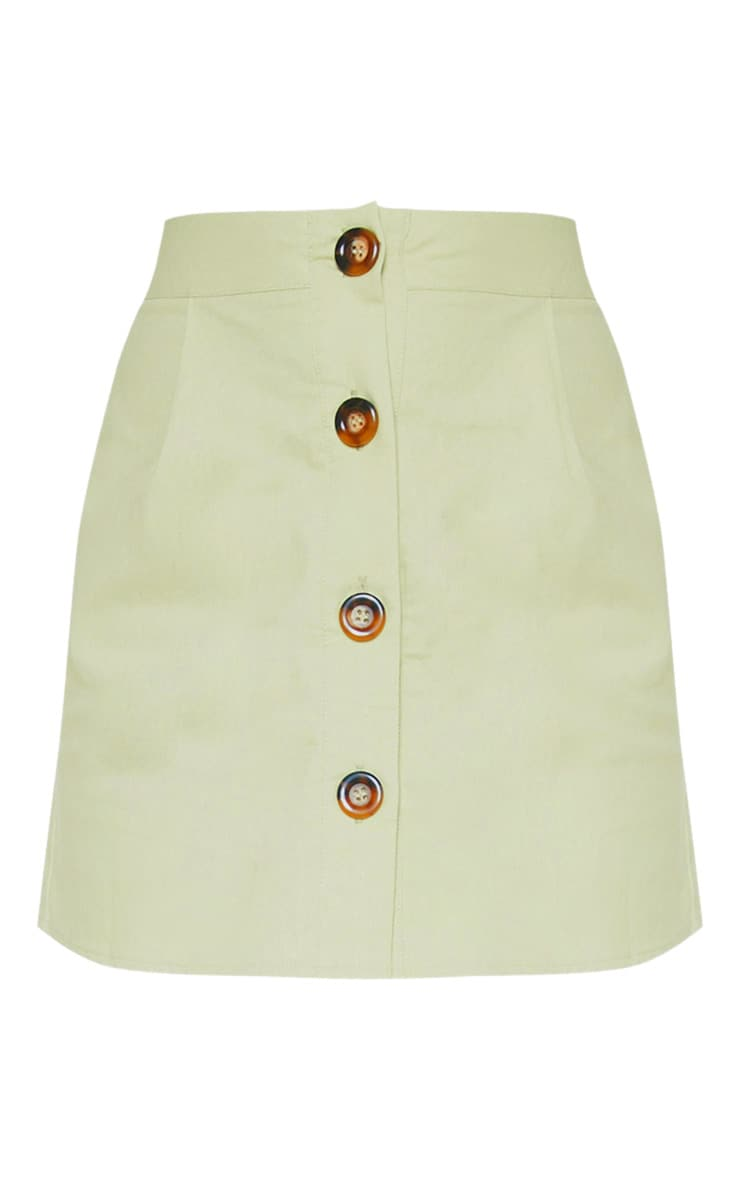 Mini-jupe vert menthe en coton à boutons devant 3