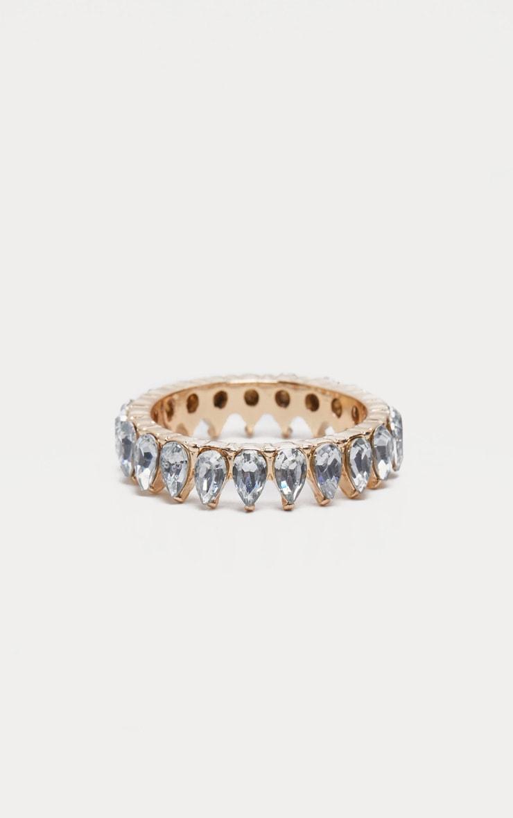 Gold Tear Drop Diamante Ring 1