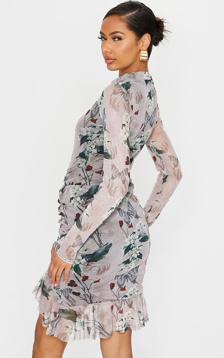 Nude Floral Print High Neck Long Sleeve Mesh Ruched Midi Dress 2