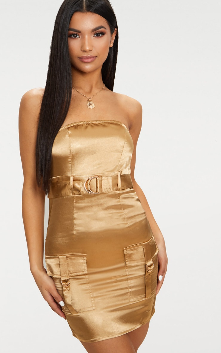 Camel Satin Utility Bandeau Bodycon Dress 1