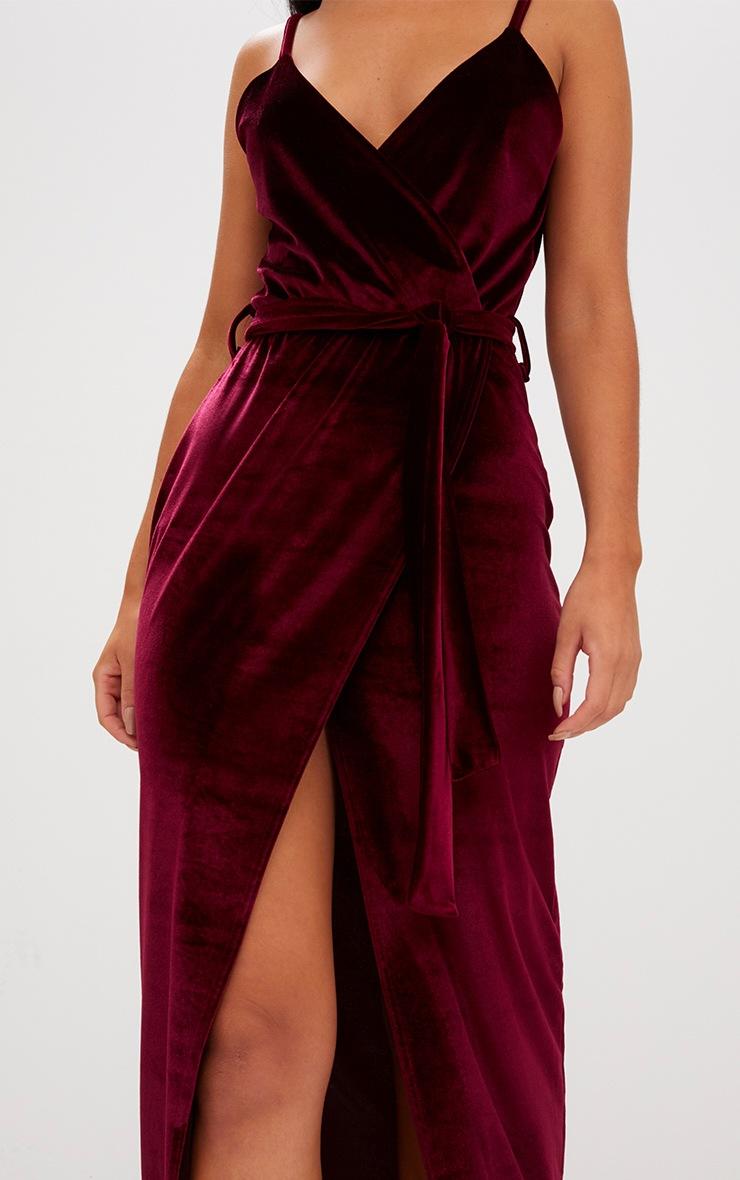 Burgundy Velvet Plunge Wrap Maxi Dress 5