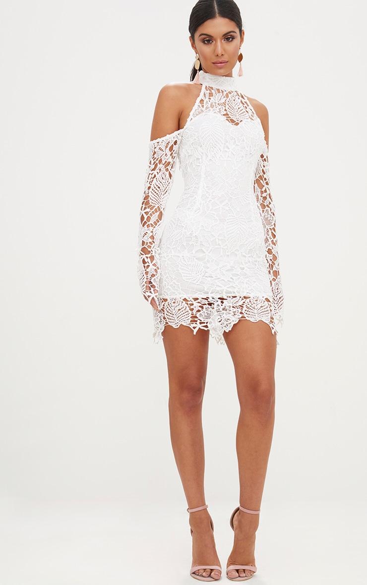 White High Neck Cold Shoulder Lace Bodycon Dress 4