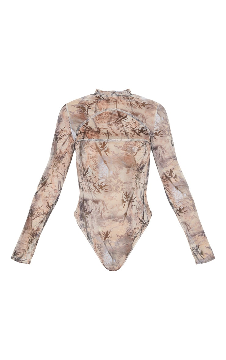 Brown Printed Mesh High Neck Cut Out Bodysuit 5