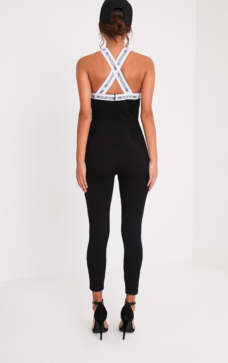 PRETTYLITTLETHING Black Strap Cross Front Jumpsuit 2