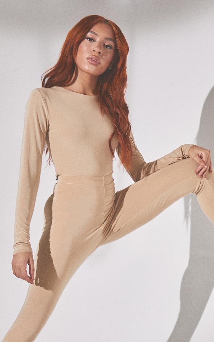 Inclusive Almond Crew Neck Long Sleeve Bodysuit