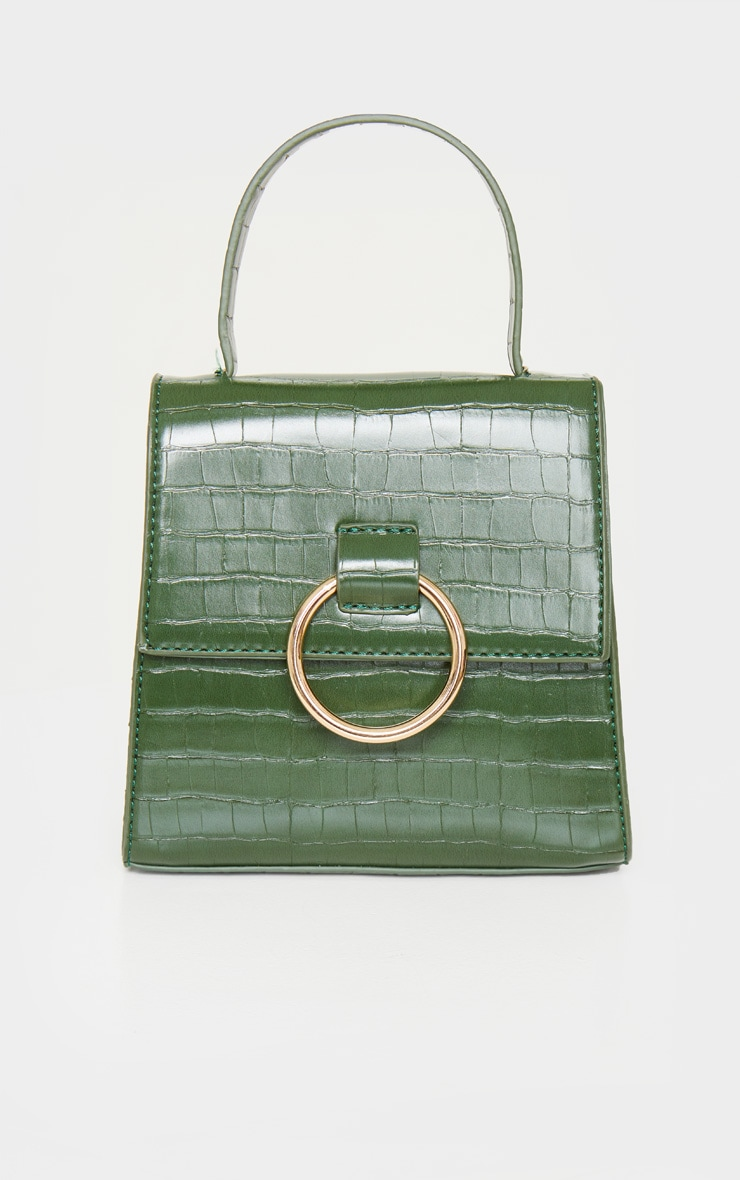 Forest Green Ring Detail Bag 2