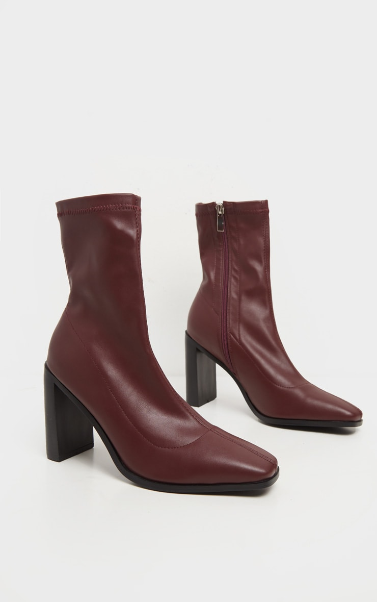 Burgundy Flat Heel Square Toe Sock Boot 3