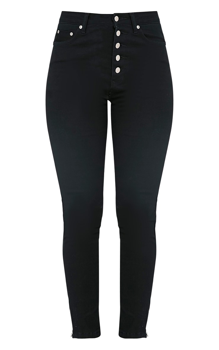 Black Button Detail High Waisted Skinny 3