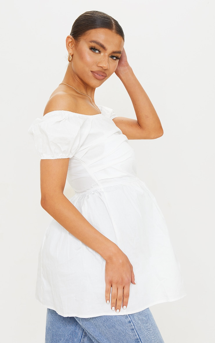 Maternity White Cotton Poplin Peplum Top 2