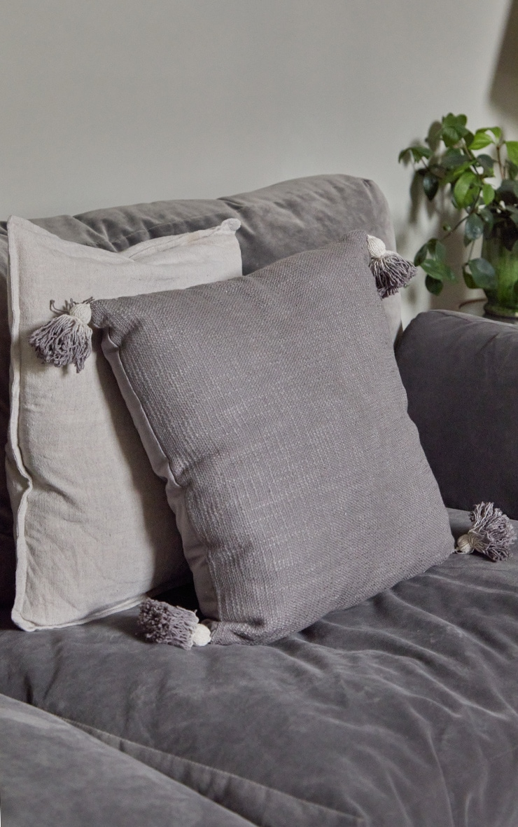Grey Tassel Cushion 2