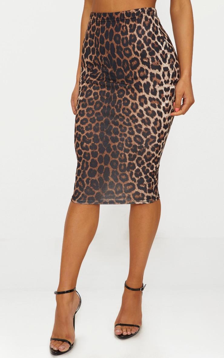 Tan Leopard Print Midi Skirt 2