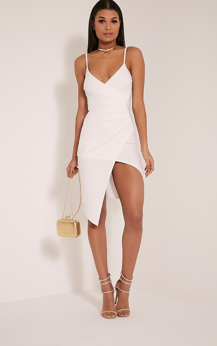 Lauriell White Wrap Front Crepe Midi Dress 1