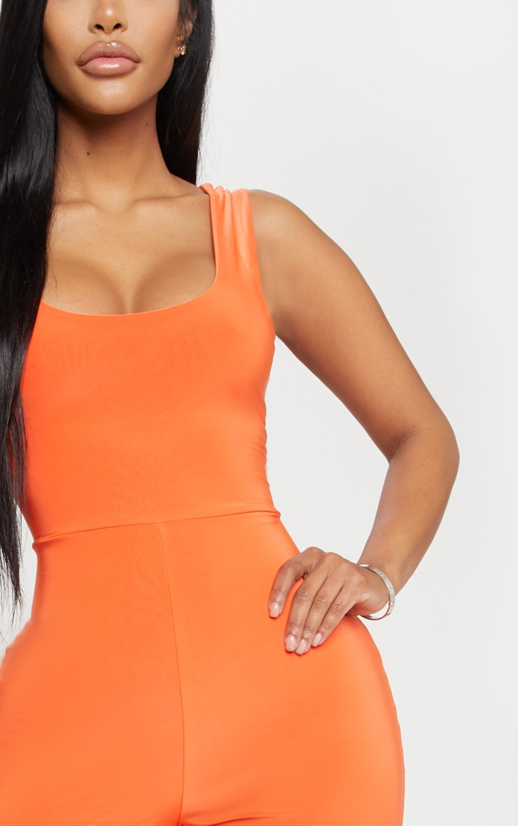 Shape Neon Orange Slinky Scoop Neck Unitard 5