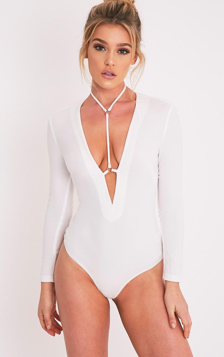 Livvie body-string harnais crème à manches longues 2